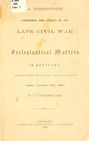 Cover of: discourse concerning some effects of the late civil war. | Lewis Letig Pinkerton
