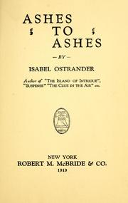 Cover of: Ashes to ashes | Isabel Ostrander