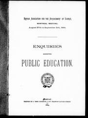 Cover of: Enquiries respecting public education | British Association for the Advancement of Science. Meeting