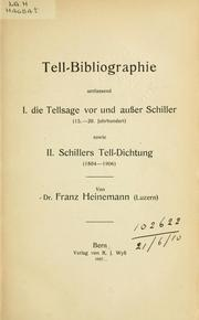 Tell-Bibliographie by Franz Heinemann