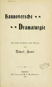 Cover of: Hannoversche Dramaturgie