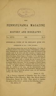Cover of: Historical notes of Dr. Benjamin Rush, 1777