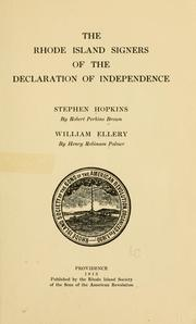 Cover of: The Rhode Island signers of the Declaration of independence | Robert Perkins Brown
