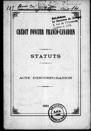 Cover of: Statuts, acte d'incorporation |
