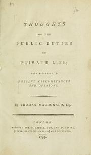 Cover of: Thoughts on the public duties of private life