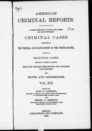 Cover of: American criminal reports |