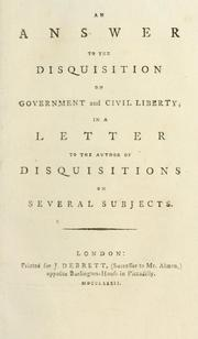 Cover of: An answer to the Disquisition on government and civil liberty | Richard L. Watson Jr.