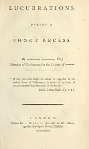 Cover of: Lucubrations during a short recess
