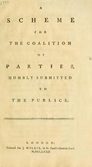 Cover of: scheme for the coalition of parties humbly submitted to the publick. | Jenyns, Soame