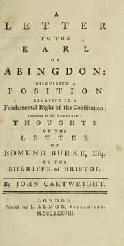 Cover of: A letter to the Earl of Abingdon