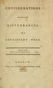 Cover of: Considerations on the late disturbances