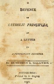 Cover of: A Defence of Catholic principles, in a letter to a Protestant minister in America