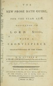 Cover of: The new prose Bath guide, for the year 1778