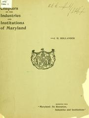 Cover of: Chapters on the industries and institutions of Maryland. | Jacob Harry Hollander