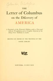 Cover of: The letter of Columbus on the discovery of America