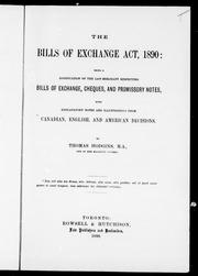 Cover of: The Bills of Exchange Act, 1890 |