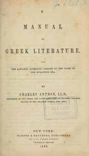 Cover of: manual of Greek literature | Charles Anthon
