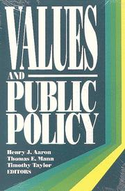 Cover of: Values and public policy
