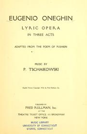 Cover of: Eugenio Oneghin: lyric opera in three acts