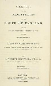 Cover of: A letter to the magistrates of the south of England