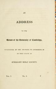 Cover of: An address to the Senate of the University of Cambridge | Herbert Marsh