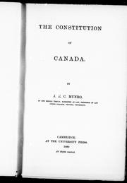 Cover of: The constitution of Canada |
