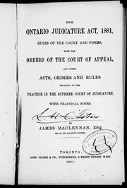 The Ontario Judicature Act, 1881 by James MacLennan