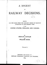 Cover of: A digest of railway decisions