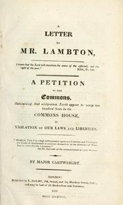 Cover of: A letter to Mr. Lambton