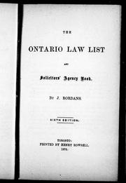 The Ontario law list and solicitors agency book
