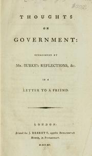 Cover of: Thoughts on government | George Rous
