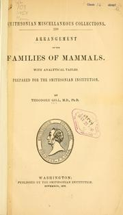 Cover of: Arrangement of the families of mammals