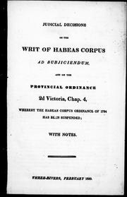 Cover of: Judicial decisions on the Writ of Habeas Corpus ad subjiciendum |