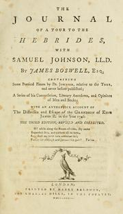Cover of: Journal of a tour to the Hebrides with Samuel Johnson, LL.D: with Samuel Johnson, LL.D. By James Boswell, ...