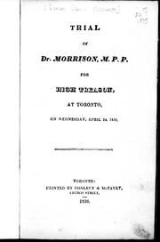 Cover of: Trial of Dr. Morrison, M.P.P. |