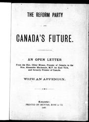 Cover of: The Reform Party and Canada's future
