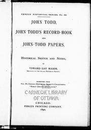 Cover of: John Todd, John Todd's record-book and John-Todd papers
