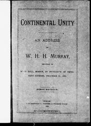 Cover of: Continental unity