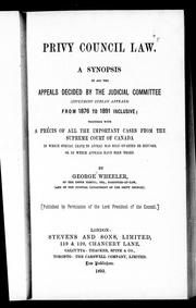 Cover of: Privy Council law | Wheeler, George