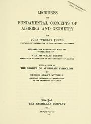 Cover of: Lectures on fundamental concepts of algebra and geometry