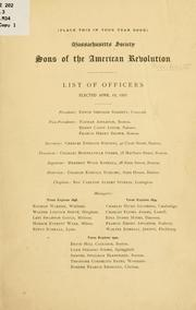 Cover of: List of officers [and members. | Sons of the American revolution. Massachusetts society.