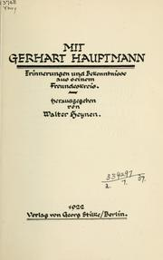 Cover of: Mit Gerhart Hauptmann