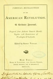 Cover of: Personal recollections of the American revolution. | Lydia Minturn Post
