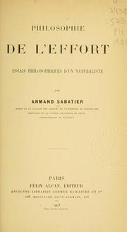 Cover of: Philosophie de l'effort