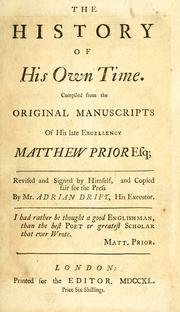 Cover of: The history of his own times