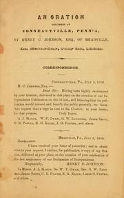 Cover of: oration delivered by Henry C. Johnson ... | Henry C. Johnson