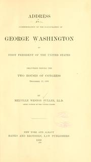 Cover of: Address in commemoration of the inauguration of George Washington as first President of the United States