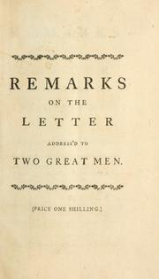 Cover of: Remarks on the Letter address'd to two great men. In a letter to the author of that piece | Burke, William