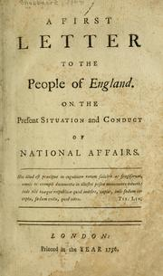 Cover of: A first letter to the people of England