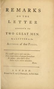 Remarks on the Letter address'd to two great men by Burke, William